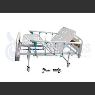 Cama manual con baranda plegable, de Dispromedics Ltda